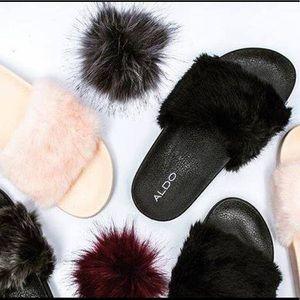 Aldo Shoes   Aldo Black Faux Fur Slide
